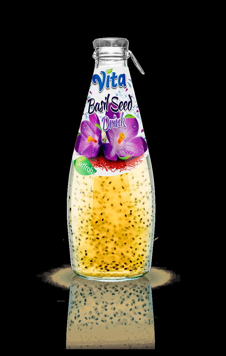 نوشیدنی سلامت بطر شیشه دانه ریحان زعفران